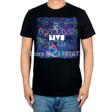 Free shipping Coldplay - Live 2012 cover Britpop/Alternative Rock men's top black T-Shirt(China)