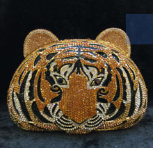 Gift Box Crystals tiger shaped Bag Women Evening Clutch Bags Ladies Wedding Bridal Metal Frame Handbag Purse Party Prom Clutches(China)