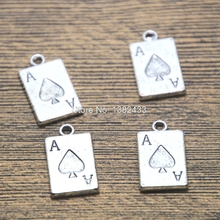 10pcs Ace of spaces Charms silver tone Ace of spaces pocker charm pendant 12x20mm