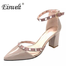 EISWELT Women Fashion Metal Decoration Ankle Pointed Sexy Night Club Sandals High Heels Summer Women Pumps#ZJF50