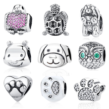 Authentic 925 Sterling Silver Bead Charms Dog Head Vintage European Animal Beads Fit Original Pandora Bracelets Necklace DIY