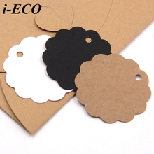 50PCS Kraft Paper Card Round Laciness Paper Tags Labels DIY Scrapbooking Hang Tags Crafts Christmas/Wedding Party Favors Gifts