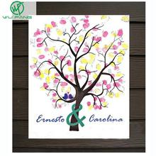 30*40cm Fingerprint Wedding Tree and inkpad Wedding Guest Book Tree Unique Signature Guestbook Vintage Wedding Decorations(China)