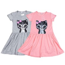 Hot Selling New  summer girl dress cat print grey baby girl dress children clothing children dress 1-6 years