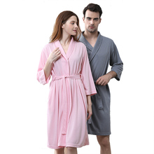 Buy Women Sexy Knee-Length Dobby Kimono Bath Robe Suck Sweat Pink Dressing Gown Femme Lingerie Bridesmaid Wedding Robes Men Bathrobe