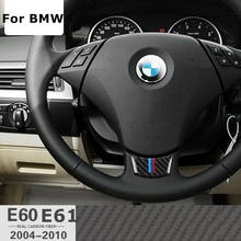 Carbon Fiber Car Steering Wheel Sticker M stripe Emblem Stickers for BMW E60 E61 5 Series 530 523 525 520 535 545 i d 528 Xdrive(China)
