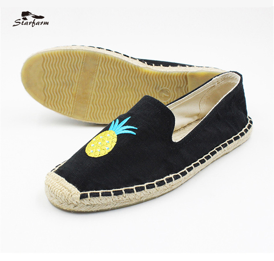 Starfarm Hemp Insole Loafers Espadrilles for Women Black Canvas Flat Shoes with Pineapple pattern Spring Autumn<br>