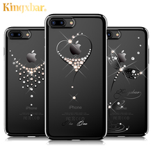 For iPhone 7 Case Transparent Hard Luxury Rhinestone Phone Cases Accessories for Apple iphone 7 Plus Cover for Girls Glitter New