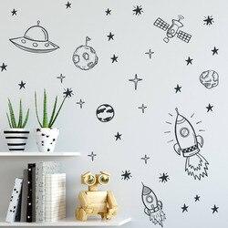 Космические настенные наклейки для комнаты мальчика наружное пространство детская настенная декоративная наклейка ракета корабль астрон...