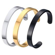 Martick Gold-color 316L Stainless Steel Fashion Couple Cuff Bracelet Bangle For Lover Rose Gold Nail Bracelet Jewelry