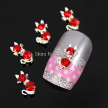 A85 100pcs/lot  3D Red Rhinestones Silver Tone Alloy Cat Kitty Shape Nail Art Tips Phone Cover Case Laptop Desgin Decoration