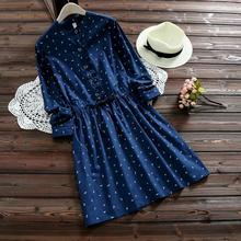 2017 Spring Casual Seagull Print Pleated Shirt Dress Women Square Buttons Ruffles Long Sleeve Drawstring Navy Blue Dresses V212