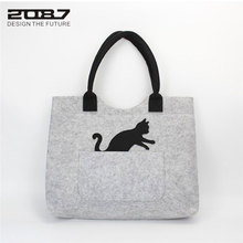 2087 Large Felt Shoulder Bags Cute Cat Women Handbag Gray Felt Crossbody Bags Girl Messenger Bag Fashion Shop Handbag