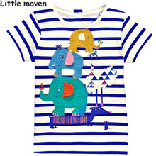 Little maven kids brand clothing 2017 new summer baby boys clothes t shirt Cotton embroidered elephant striped brand tops L099