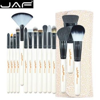 JAF Estudio 15-piece Maquillaje Kit de Cepillo de Pelo Suave Estupendo de LA PU Funda de Cuero Titular de Maquillaje Cepillo Conjunto J1504C-W