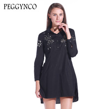 PEGGYNCO 2017 new autumn turn-dow collar long sleeve solid black loose big size dress women fashion vestido with crystal diamond