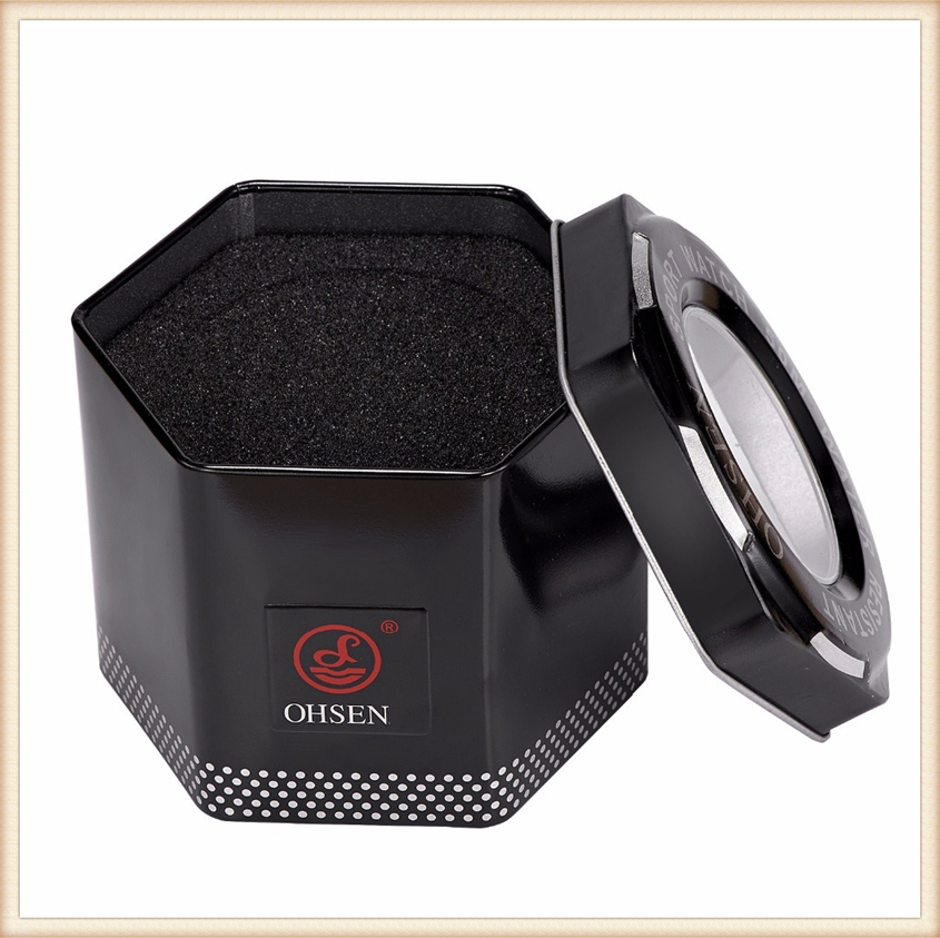 1PCS Fashion 100% Original OHSEN Watch Boxes Good Quality Protect Watch Metal Gift Box Freeshipping with OHSEN LOGO Dropshipping (16)