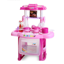 HOT SALE Kid Kitchen Cooking Pretend Role Toy Play Set Lights Sound Electronic 37*21*47cm(China)