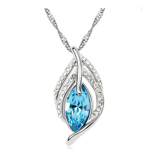G040 big crystal drop leaf necklace fashion pendant for party