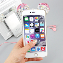 Naisidier Lovely cute girl pink transparent diamond crystal mouse ear phone shell case cover for iPhone 5 5S SE 6 6S 7 plus(China)