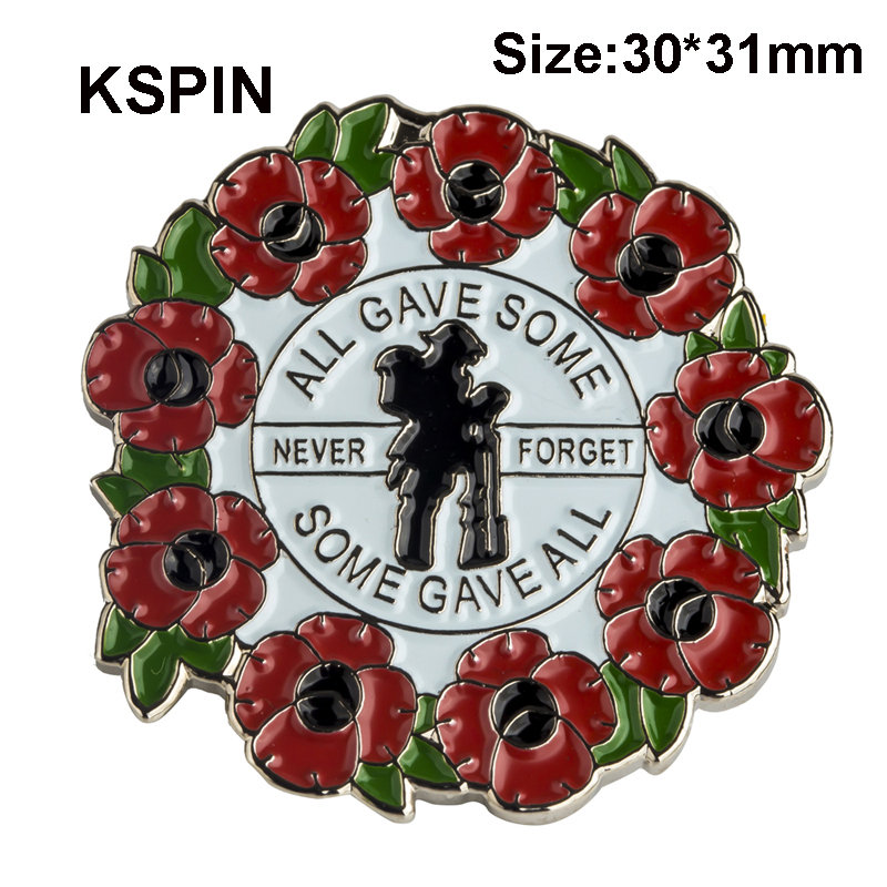 Poppy Wreath We Will Remember Them Lapel Pin Remembrance Badge