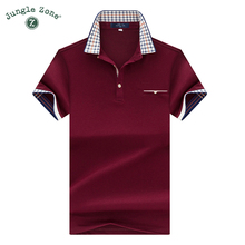 2017 Top Quality Summer Short Sleeve POLO Shirt Solid Color Business brand polo Shirts Plaid embroidery collar Polo shirts 7177