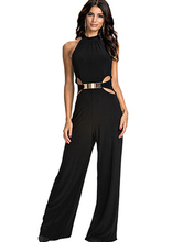 Free Shipping High Quality Aliexpress Ebay Hot Sale Western Style Halter Neck Woman Slim Jumpsuit Black(China)