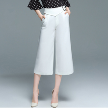 2017 Summer Women Wide Leg Pants White Calf-Length Culottes Pants Casual Loose Adjustable Button Waist Pants 2072LY