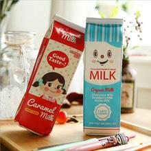 New Arrival Milk Box PU Leather Pencil Case Creativity Organizer Pen Bag Kawaii Stationery School Supplies