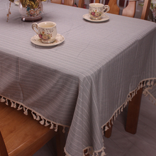 Light Green / Grey Japanese Korean Style Cotton Linen Classic Striped Table Cloth Rectangular Dustproof Covers