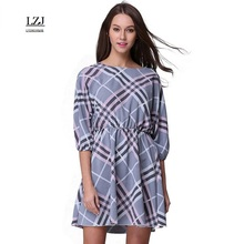 LZJ new summer high quality 2017 woman's clothes vestidos sexy o collar five sleeves fan check print mini party dress plus size