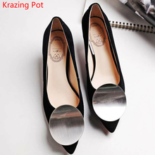 2017 New Fashion Kid Suede Party Wedding Thin High Heel Metal Round Fasteners Women Pumps Pointed Toe Women Brand Work Shoes 03