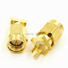 10PCS SMA Male Plug Solder Edge PCB Clip Mount RF Connector