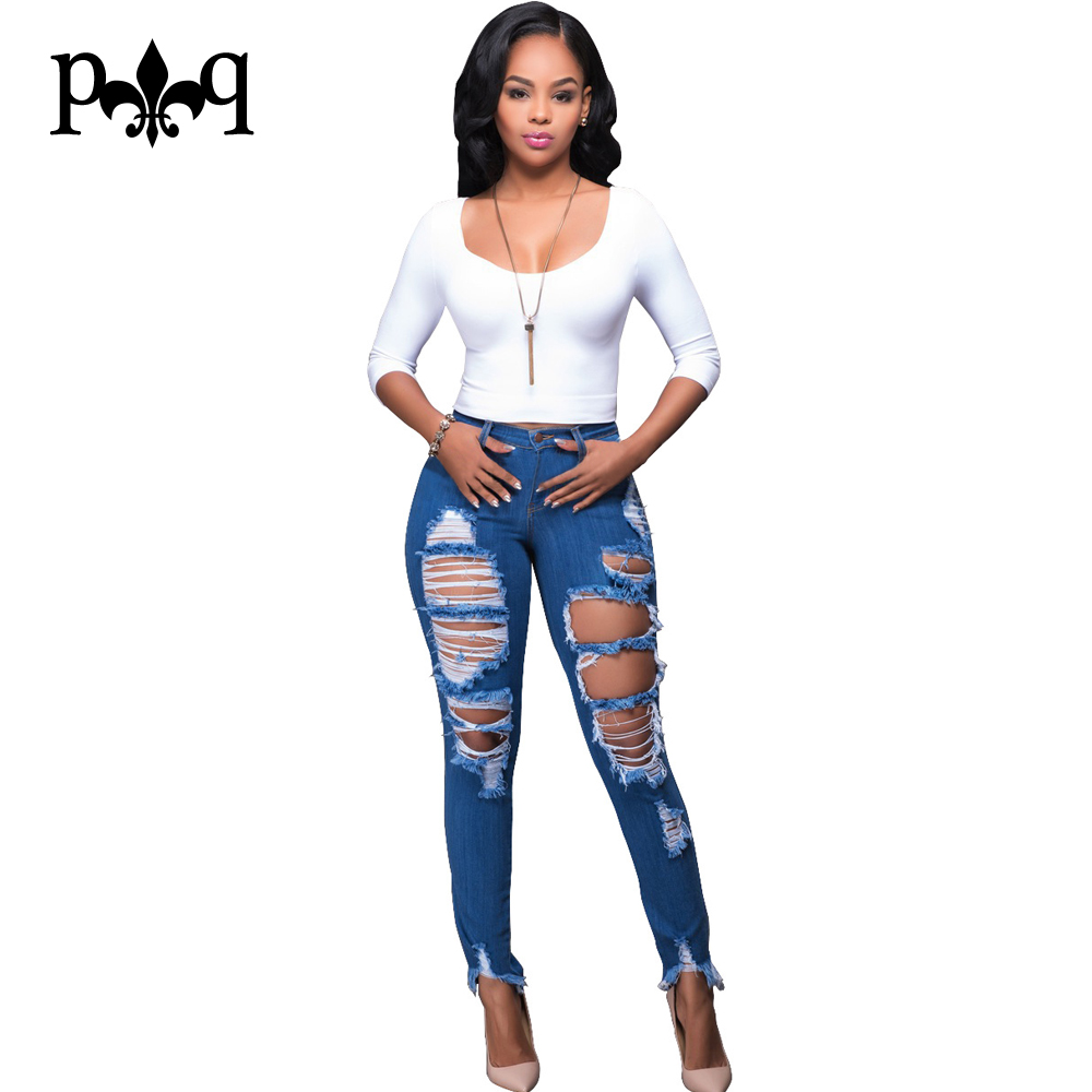 Skinny Jeans Women Mid Waist Ripped Jeans Pencil Pants Tassel Hole Sexy Blue Denim Jean Femme Slim Plus Size Trousers Autumn Одежда и ак�е��уары<br><br><br>Aliexpress