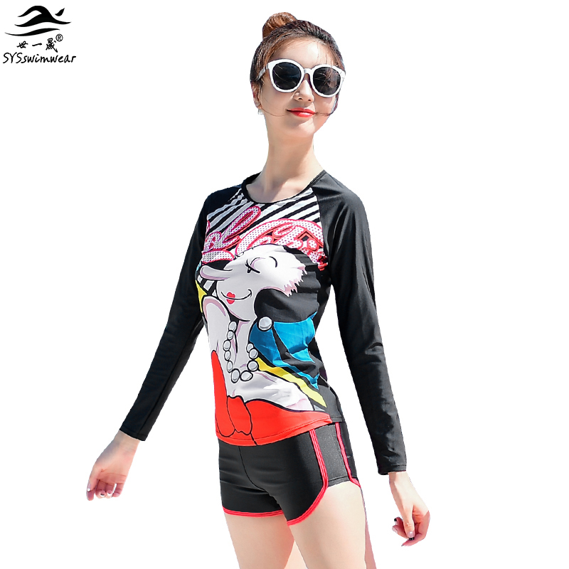 High Quality summer Cartoon Sailor girlfriend Olive Print Black Sexy Bikini Swimwear with Long Sleeves Push Up Solid Swimsuit <br><br>Aliexpress