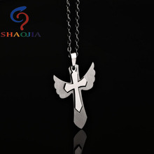 2017 SHAOJIA New Fashion Male Stainless Steel Angel Wings Personality Domineering Cross Necklace Couple Pendant Ornaments