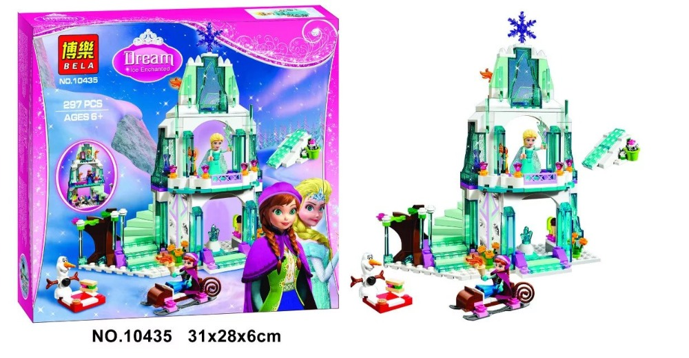 Bela Princess Elsas Sparkling Ice Castle Building Block set Elsa Anna figures Olaf Girls Toy Compatible with lepin 41062<br><br>Aliexpress
