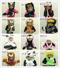 Animal Cartoon Winter Hat Scarf Glove Panda / Duck / Frog / Wolf / Kitty / Monkey / Elephant / Brown Tiger / White Tiger(China)