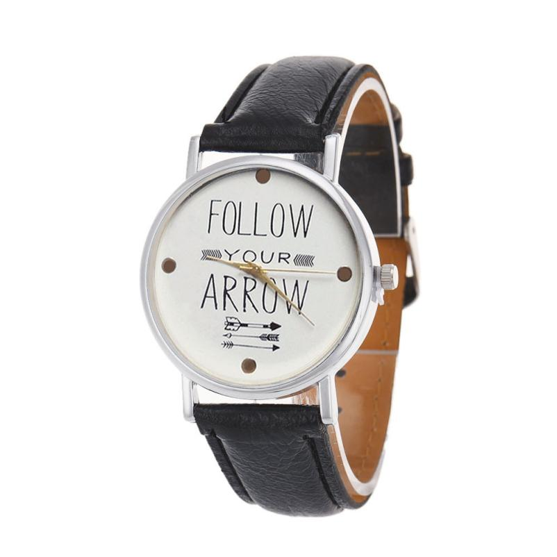 Fantastic D0J4 2016 New Arrival Leather Band Quote Follow Your Arrow Analog Quartz Vogue Wrist women Watches Free Shipping<br><br>Aliexpress