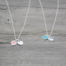 New Arrival Love Double Heart Enamel Ladie FOREVER LOVE Silver Color Necklace Drift Bottles Jewelry Wholesale Gift For Women(China)