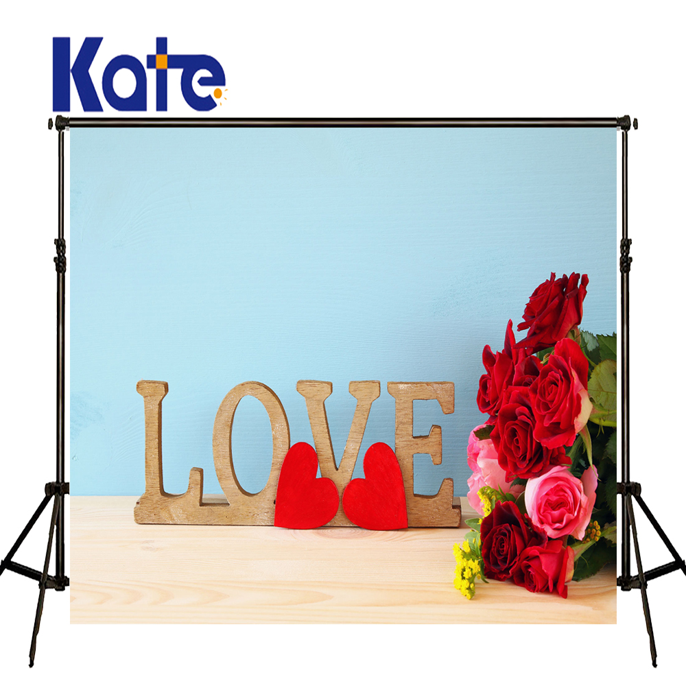 KATE 5x7ft ValentineS Day Backdrop Photography Backdrops Wooden Love Letters Background Blue Backdrops for Photocall Wedding<br>