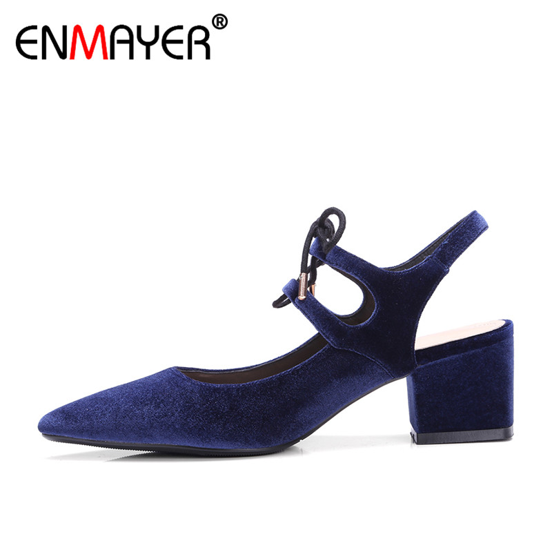 ENMAYER Slingback Lace-Up Pointed Toe Chunky Heels High Heeks Party Shoes Women Hot Fashion Summer Women Pumps Sandals<br><br>Aliexpress