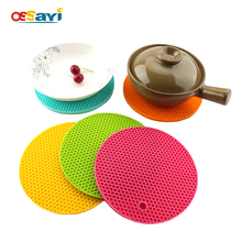 18*18CM Round Silicone Mat Heat Resistant Placemat Non-slip Thickening Dining Table Mat Cup Coaster Posavasos Kitchen Placemat