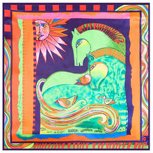 The new ethnic style abstract pattern horse bird sun simulation trace towel 60cm*60cm small square scarf shawl Hijab