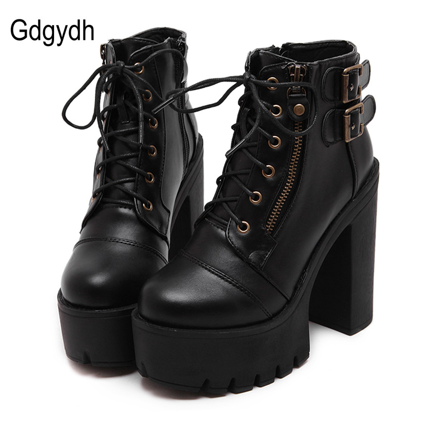 Gdgydh Hot Sale Russian Shoes Black Platform Martin Boots Women Zipper Spring High Heels Shoes Lace Up Ankle Boots Size 35-39<br>