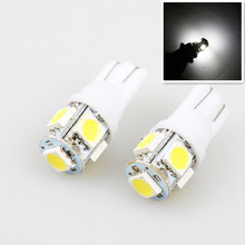 car styling 1pcs Auto T10 5 LED 1W 5050 W5W Wedge Door Parking Bulb Light Car 5W5 LED Dome Festoon C5W C10W License Plate Light(China)
