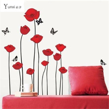 YunXi RED POPPY Removable Wall Decals Home Decor Art Flower Vinyl Mural Wall Stickers 60*100CM
