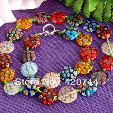 3PCS/Lot Millefiori Glass Lampwork Murano Coin Beads Necklace HOT(China)