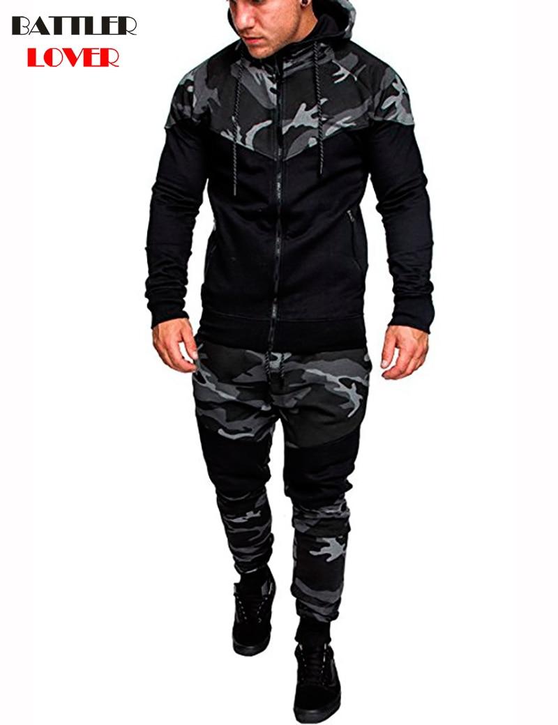 Camouflage Cardigan Hoodies Men Autumn Hooded Hoodies Mens Sweatshirts Sweatpants Hip Hops Biker Casual Hombre Hoody Tracksuits