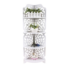 4 Tiers Home White Hollow Carved Wooden Corner Stand Shelf Display Storage Holder Furniture Book Shelf Organizer